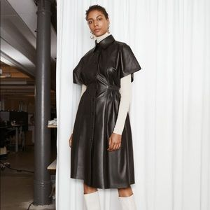 Structured Leather Midi Dress, small